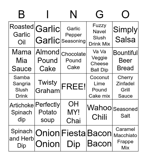 Tastefully Simple Bingo Card