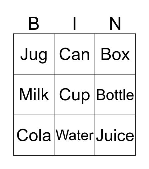 Drinks I like Bingo Card