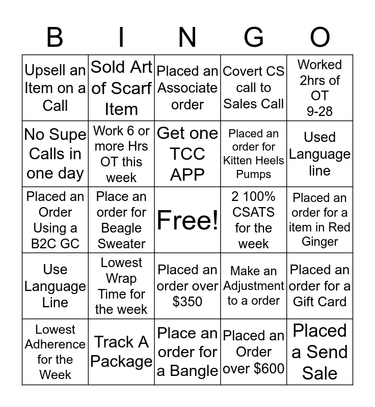 Talbot's Bingo Card