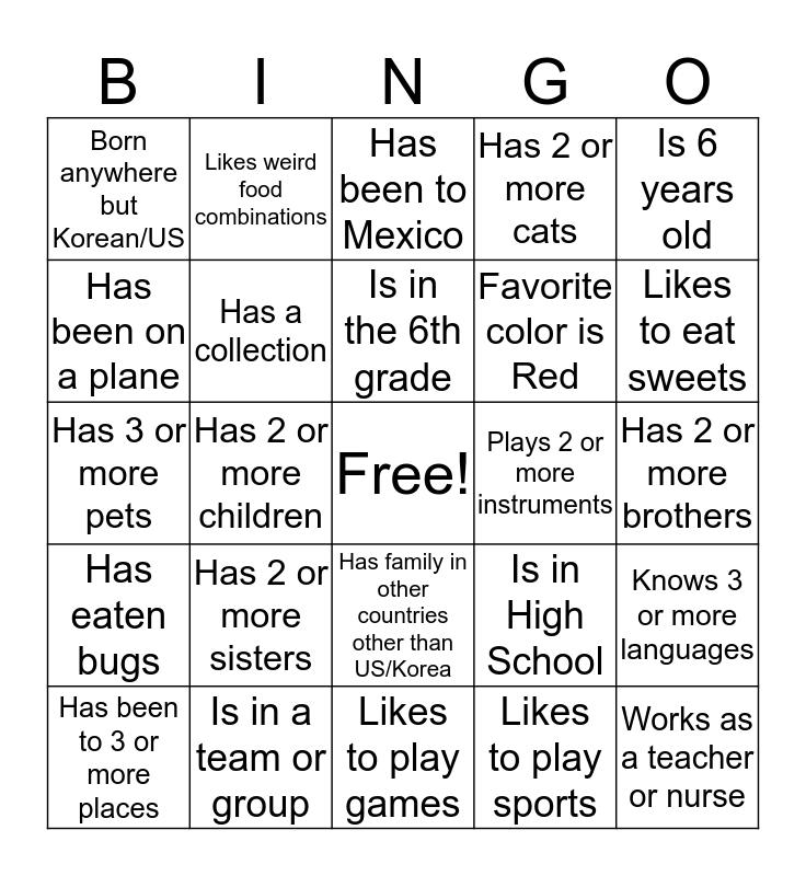 Who are you Bingo! Bingo Card