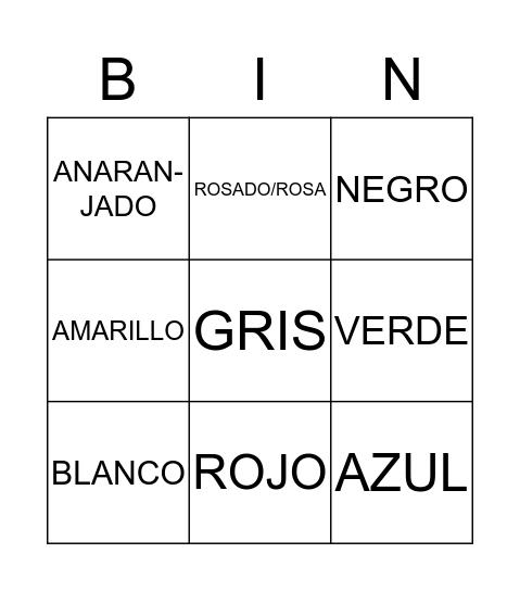Colores Bingo Card