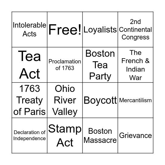 The American Revolution Bingo Card