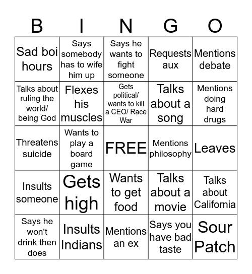 Imaan Bingo Card
