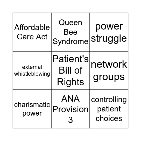 Chapter 6 & 13 Bingo Card
