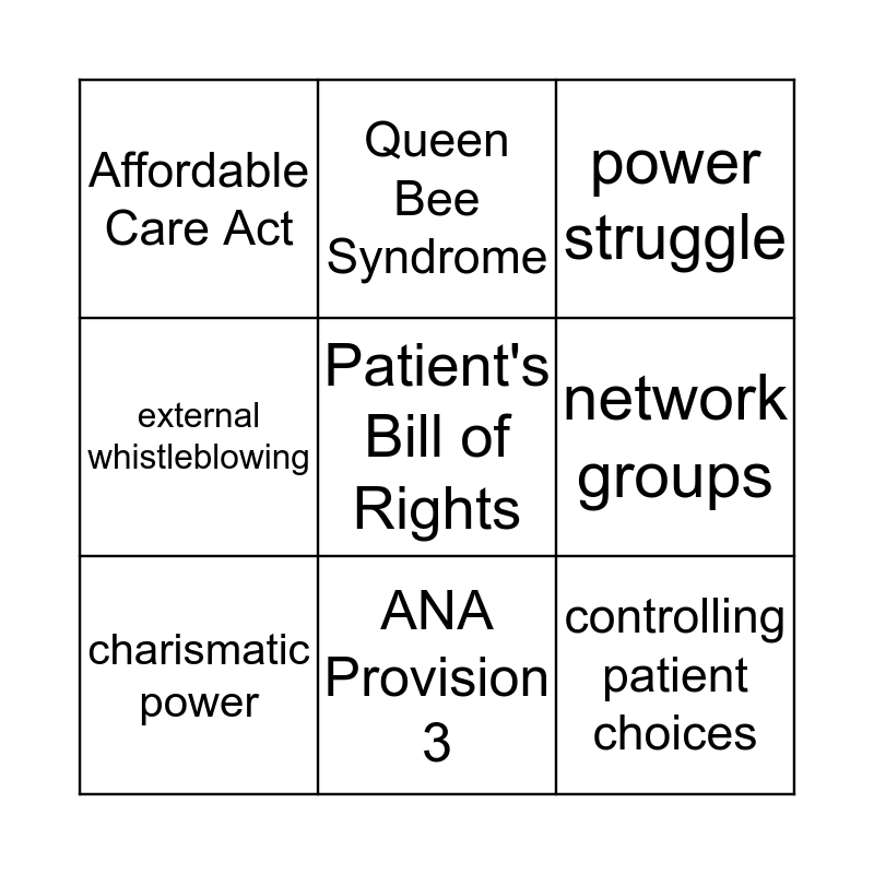 Chapter 6 & 13 Bingo Card