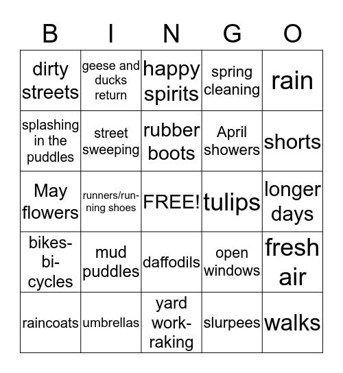 EARLY SPRING Bingo Card