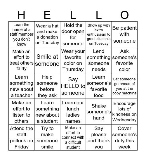STAFF Bingo Card