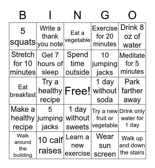 GoHealth Fitness Bingo Card