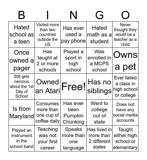 Teacher Bingo  Bingo Card