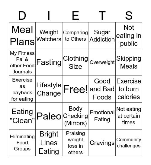 Diet Culture Bingo Card