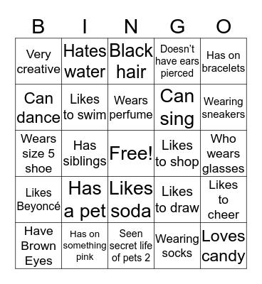 Get to know!  Bingo Card