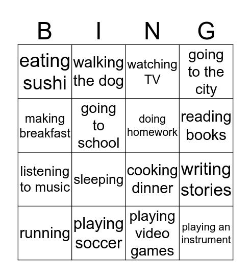 I Like... Bingo Card
