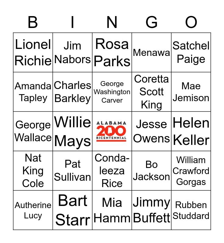 Famous Alabamians Bingo Card
