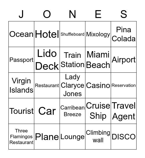 Cruise Ship  Bingo Card