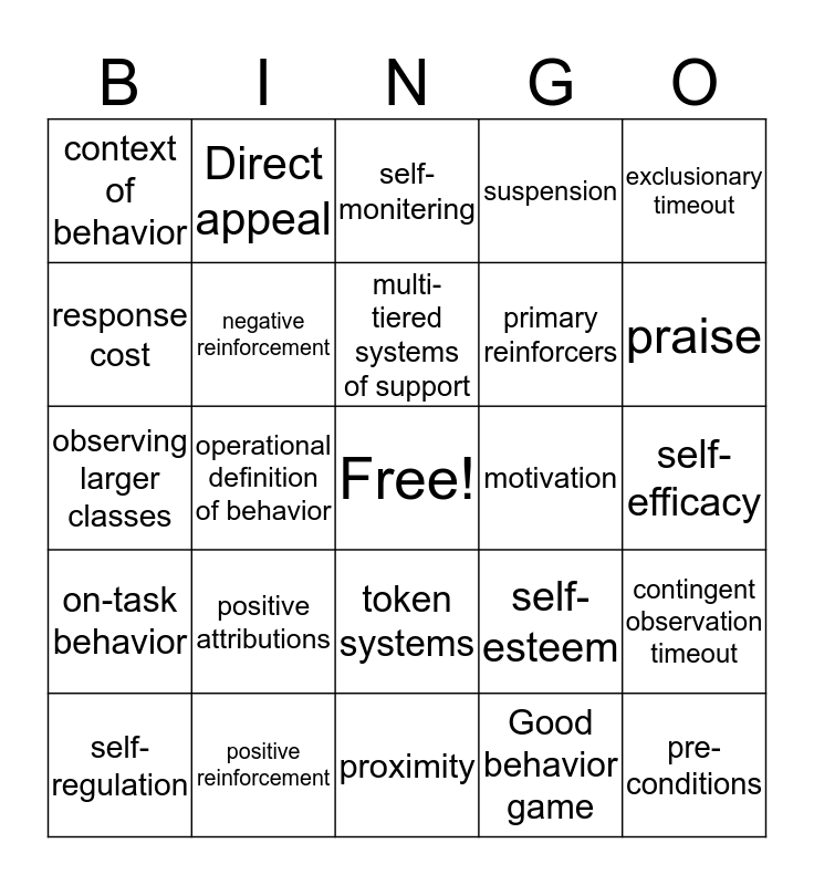 Improving Motivation and Social Behavior Bingo Card