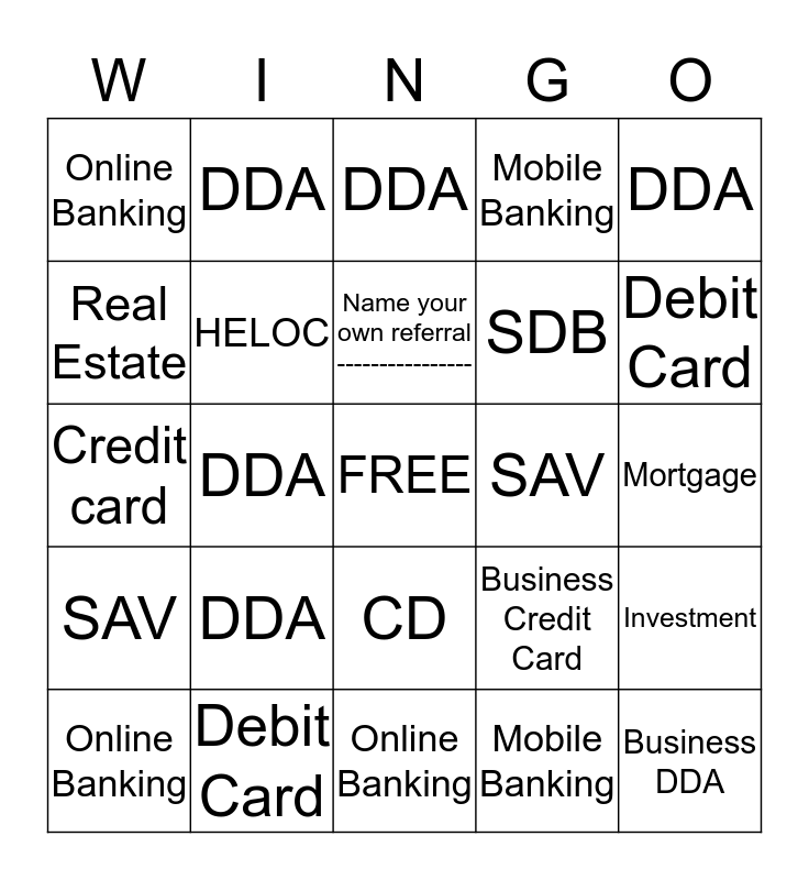 Wingo Bingo Card