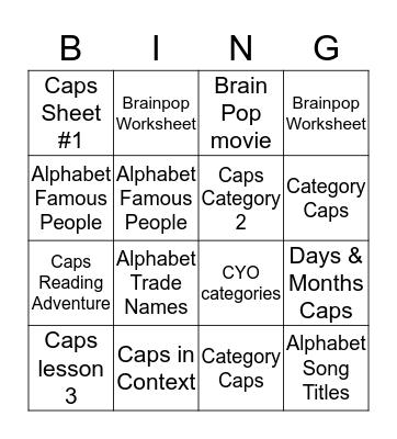 Capitalization Bingo Card