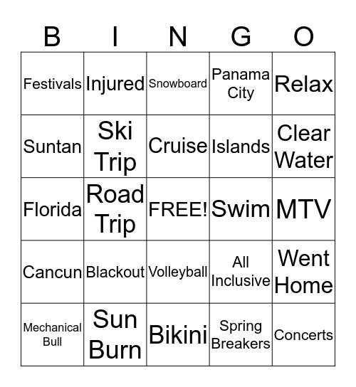 Spring Break Last Stand Bingo Card