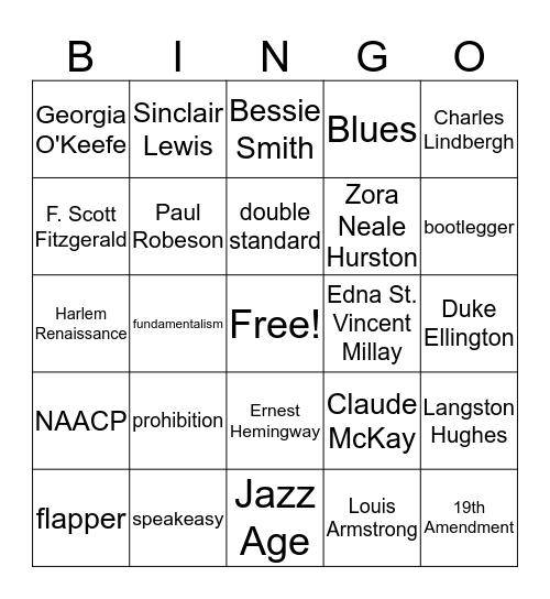 Roaring Twenties Bingo Card