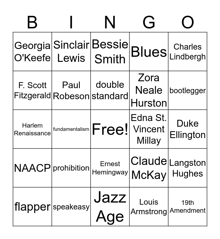 Roaring Twenties Bingo Card