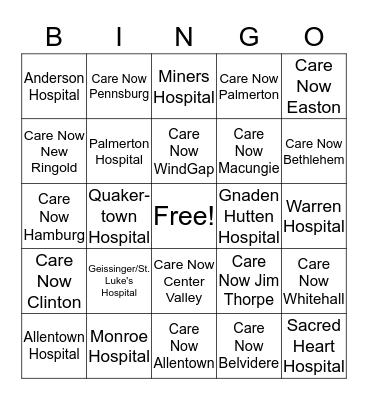 St. Luke's BINGO Game #3 Bingo Card
