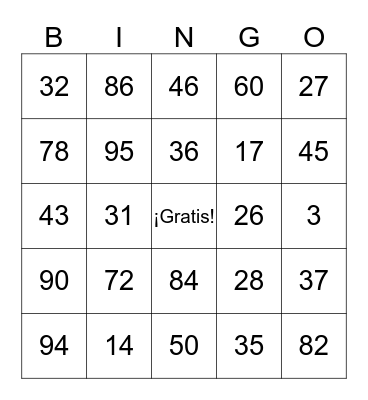 Spanish Lotería Bingo Card