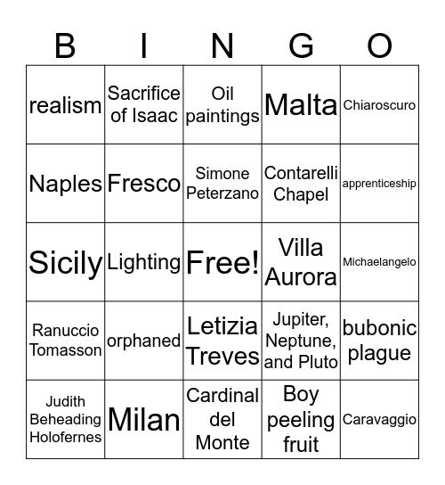 Caravaggio Bingo Card