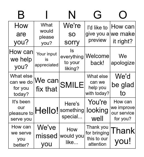LINGO Bingo Card