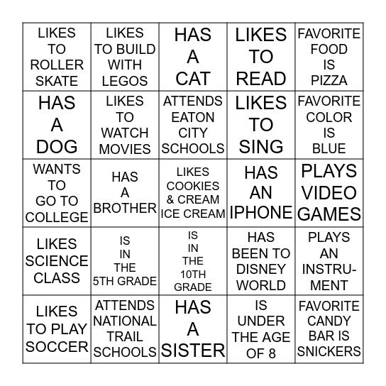 FGT FAMILY KIDS Bingo Card