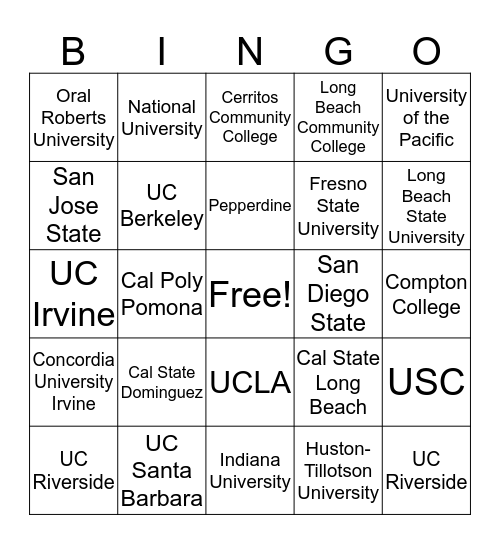 Colleges of Kelly Teachers Bingo Card