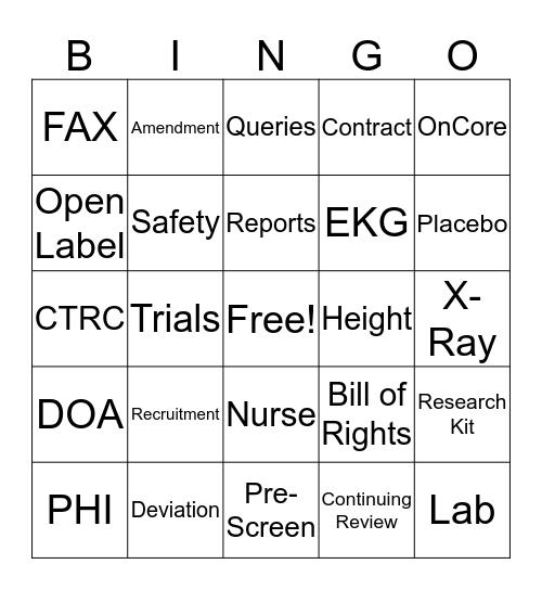 Research Bingo Card