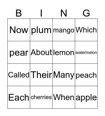 fruit 4X4 Bingo Card