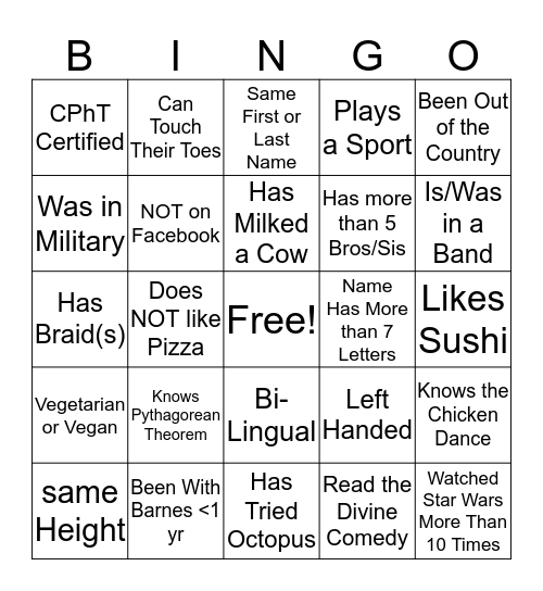 Pharmacy Week People Bingo  Bingo Card