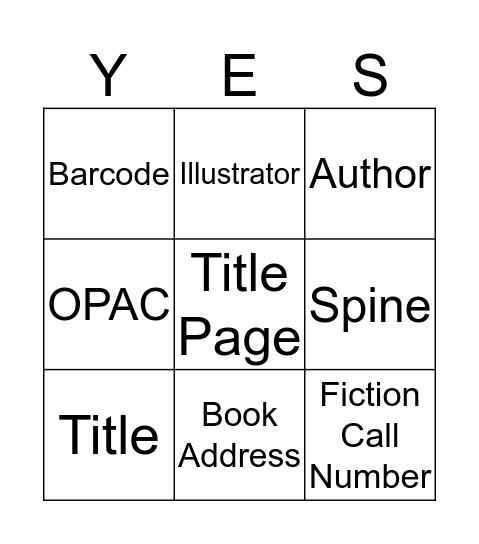Book Parts Bingo Card