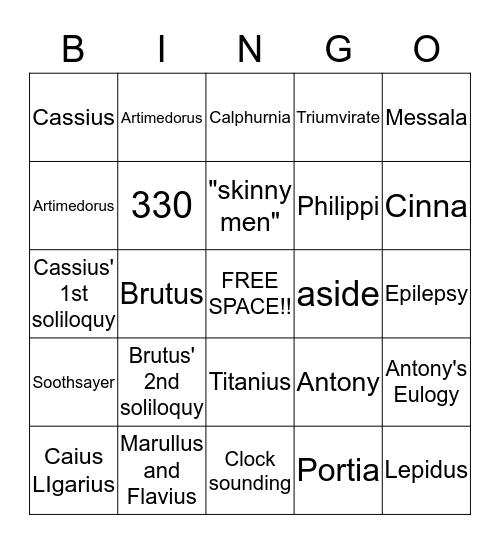 Julius Caesar Bingo Card