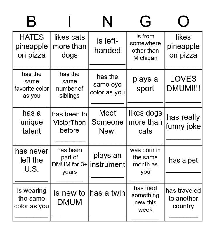 Find someone who.... Bingo Card