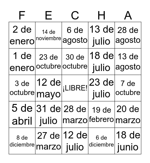 LAS FECHAS Bingo Card