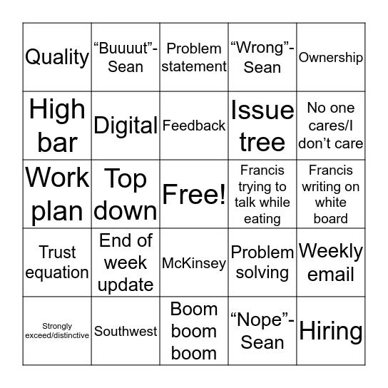 Digital team bingo Card