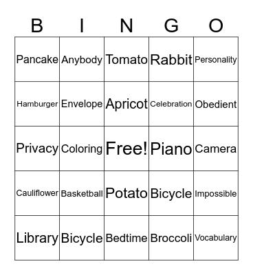 Bilabial Bingo Card