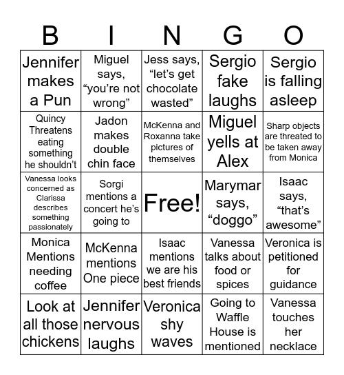 Clarissa's Amigos Bingo Card