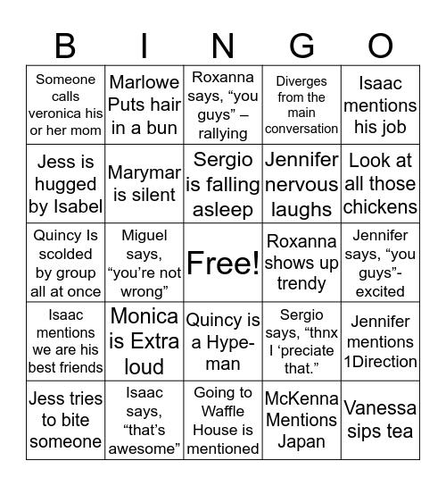 Jadon's Amigos Bingo Card