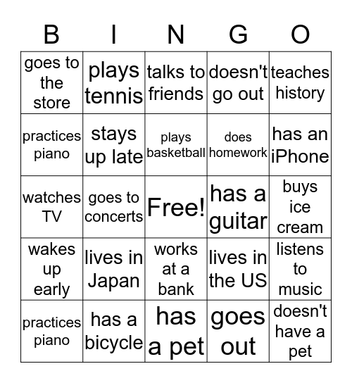 Hobbies and Weekends Bingo Card