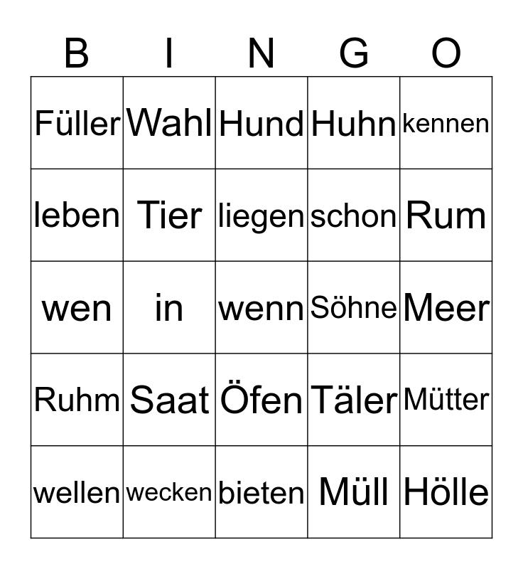 Vokal-Bingo Card