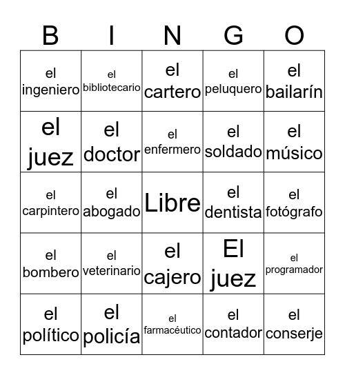 Las profesiones Bingo Card