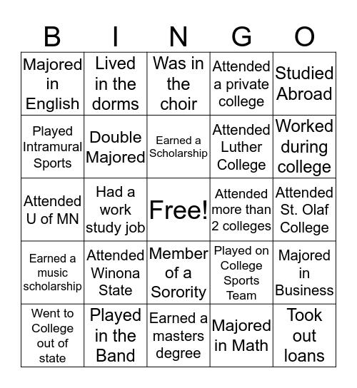 College Knowledge Month Bingo Card
