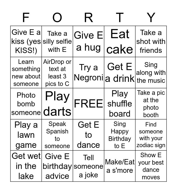OLD MAN FORTY Bingo Card