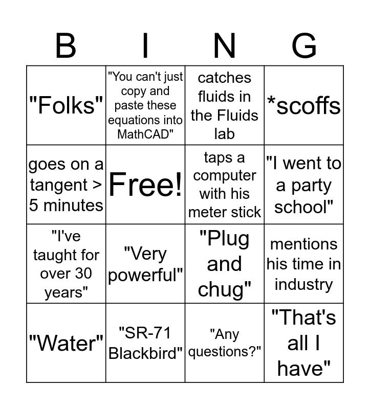 COL Arthur Bingo Card