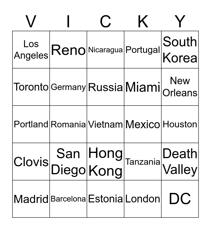 Where in the World is Vicky? Bingo Card