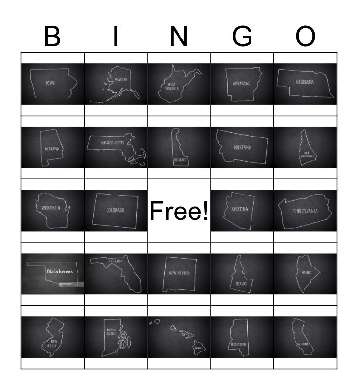US Capitals Bingo Card