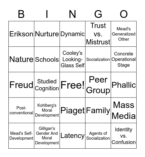 Sociology Bingo! Bingo Card